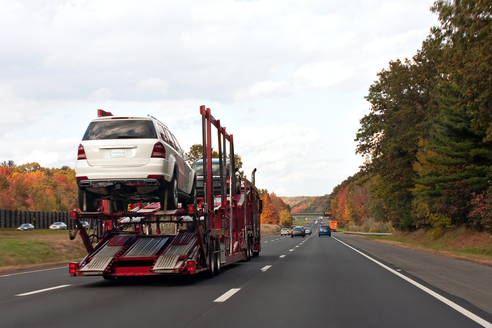 Car Carrier Truck on a Highway